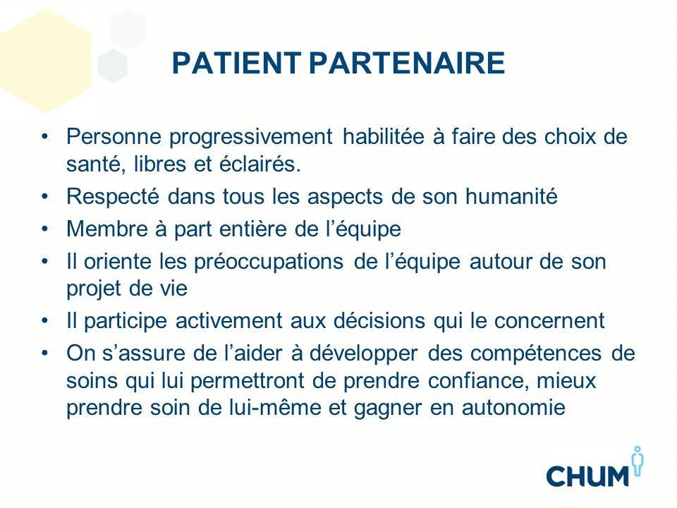 PATIENT PARTENAIRE Personne progressivement habilitée à faire des choix de santé, libres et éclairés.
