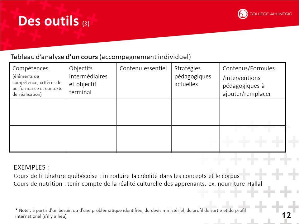 Des outils (3) Tableau d'analyse d'un cours (accompagnement individuel) Compétences.