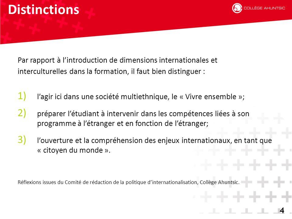 Distinctions Par rapport à l'introduction de dimensions internationales et. interculturelles dans la formation, il faut bien distinguer :