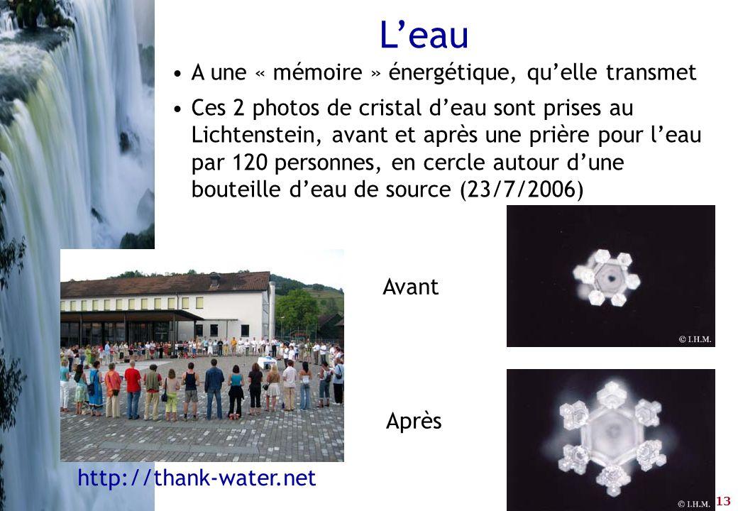 L'eau A une « mémoire » énergétique, qu'elle transmet