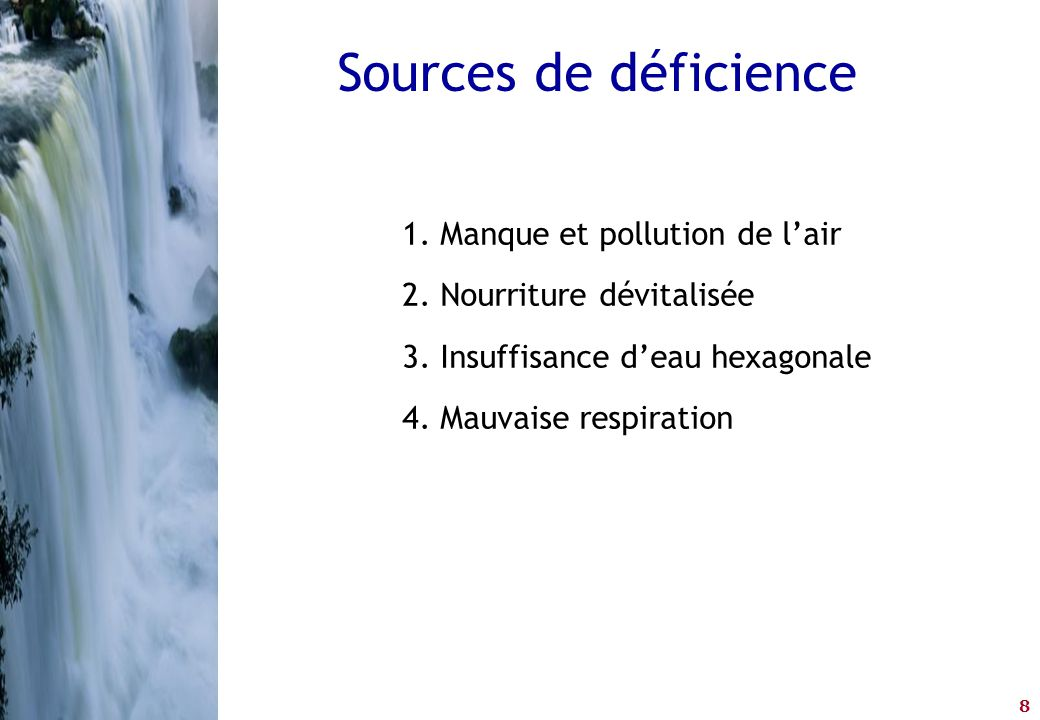 Sources de déficience Manque et pollution de l'air