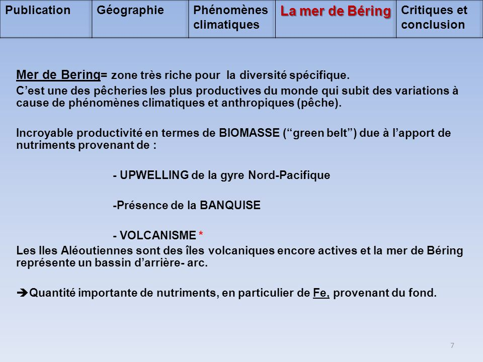 Publication Géographie. Phénomènes climatiques. La mer de Béring. Critiques et conclusion.