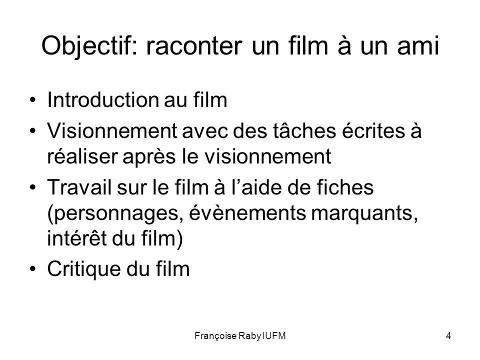 Objectif: raconter un film à un ami