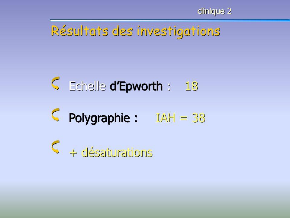 Résultats des investigations