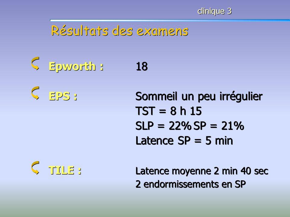 Résultats des examens Epworth : 18 EPS : Sommeil un peu irrégulier