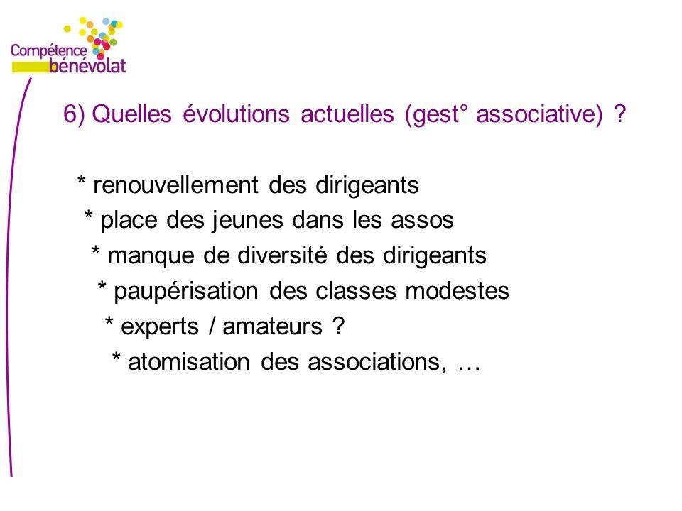 6) Quelles évolutions actuelles (gest° associative)