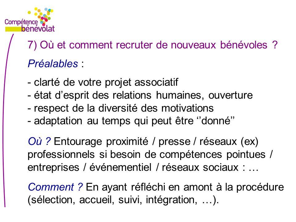 7) Où et comment recruter de nouveaux bénévoles