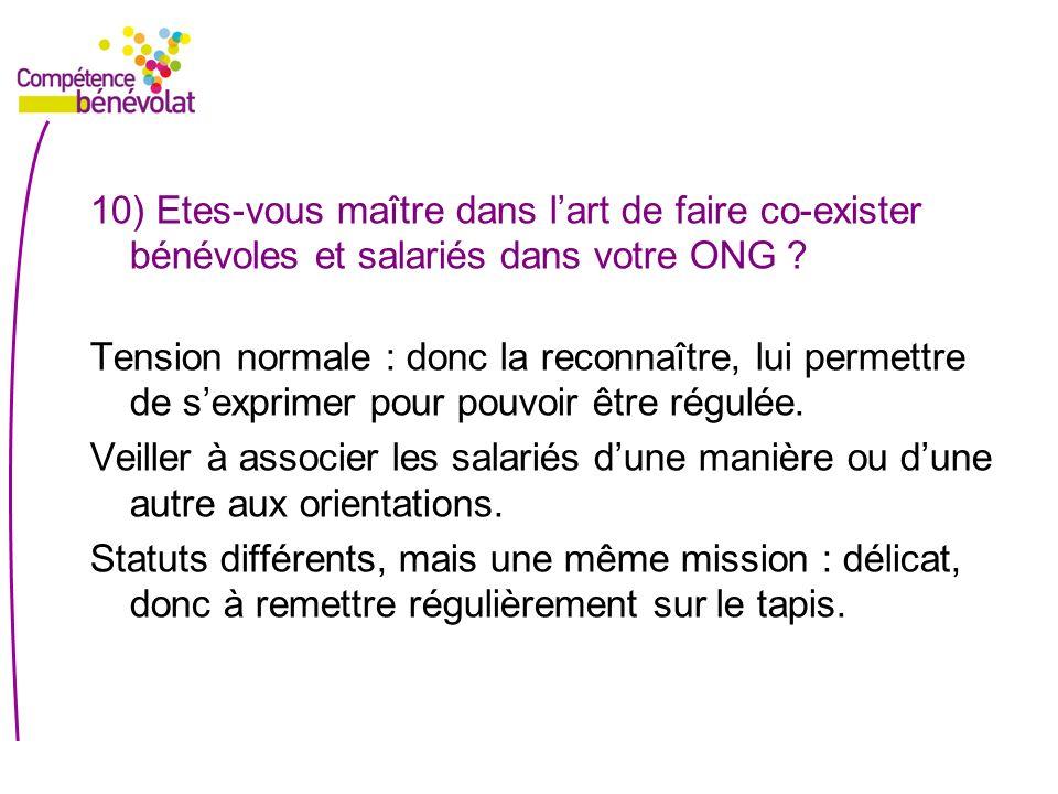 10) Etes-vous maître dans l'art de faire co-exister bénévoles et salariés dans votre ONG