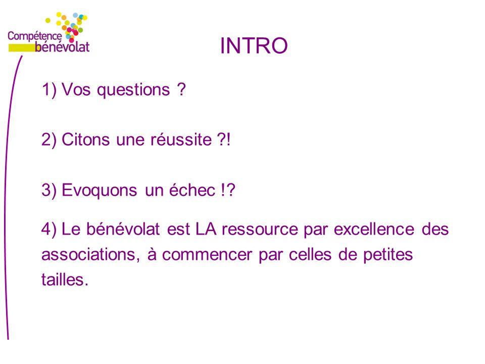INTRO 1) Vos questions 2) Citons une réussite !