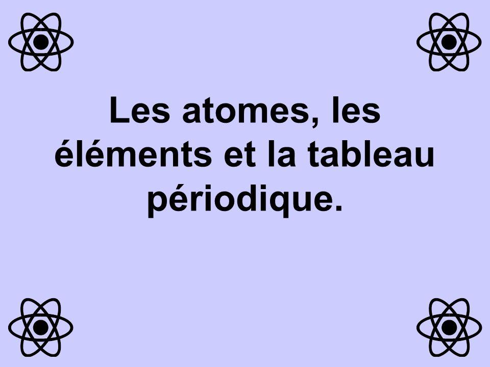 Les atomes, les éléments et la tableau périodique.