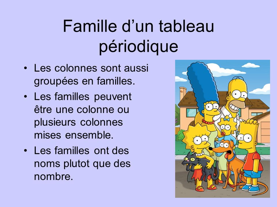 Famille d'un tableau périodique