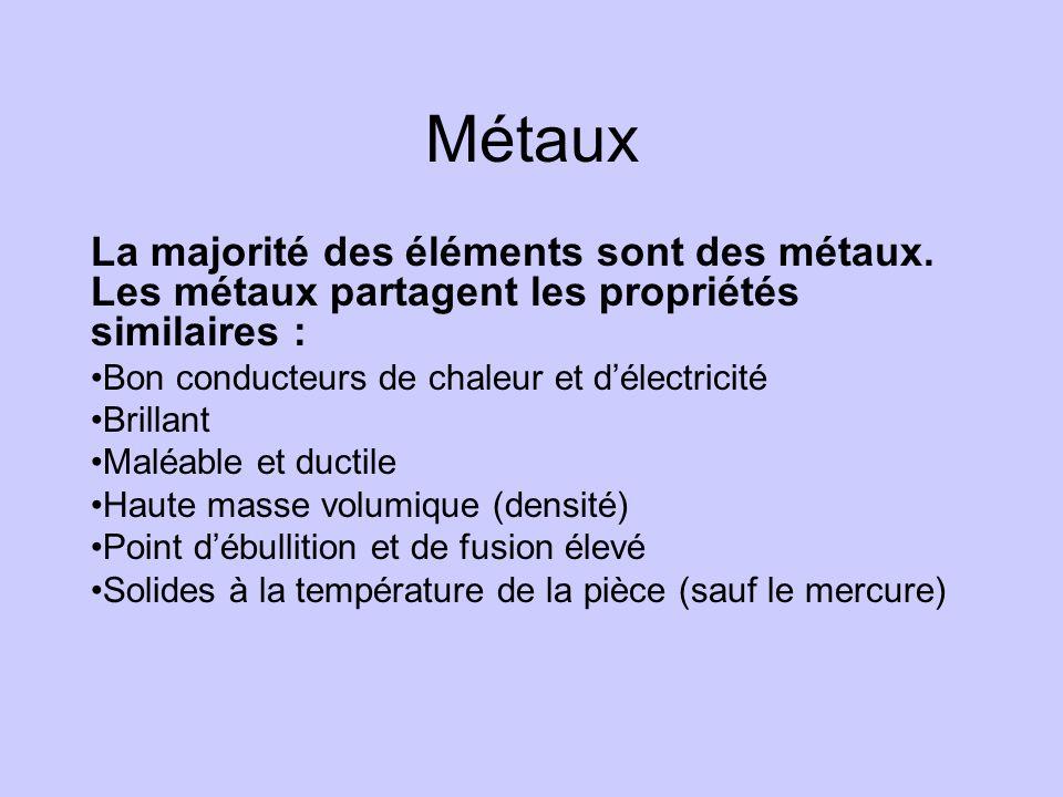 Métaux La majorité des éléments sont des métaux. Les métaux partagent les propriétés similaires : Bon conducteurs de chaleur et d'électricité.