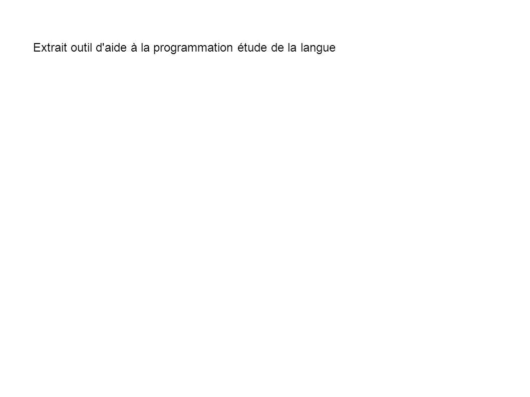 Extrait outil d aide à la programmation étude de la langue