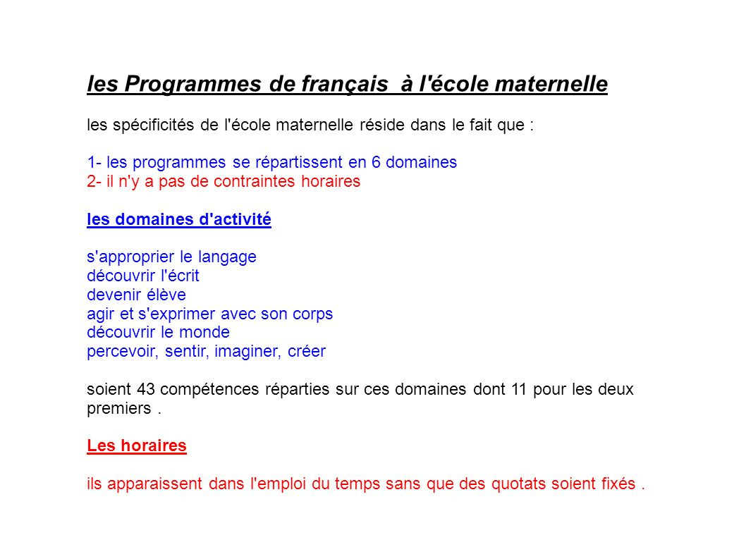 les Programmes de français à l école maternelle