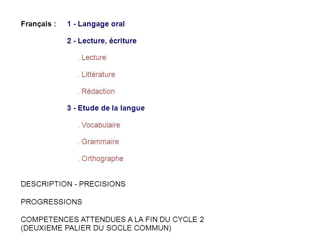 Français : 1 - Langage oral