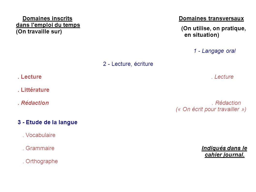 Domaines inscrits Domaines transversaux