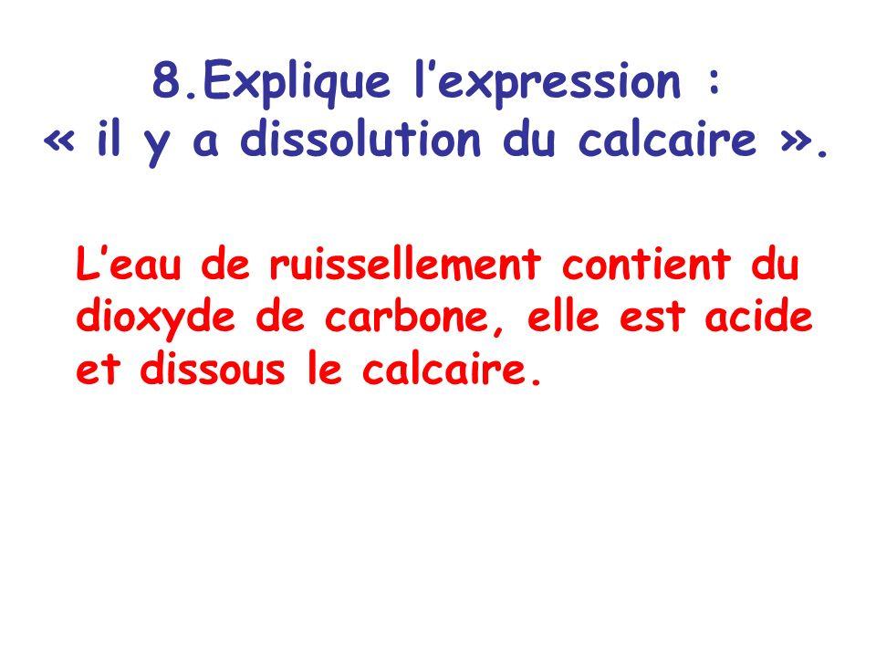 Explique l'expression : « il y a dissolution du calcaire ».