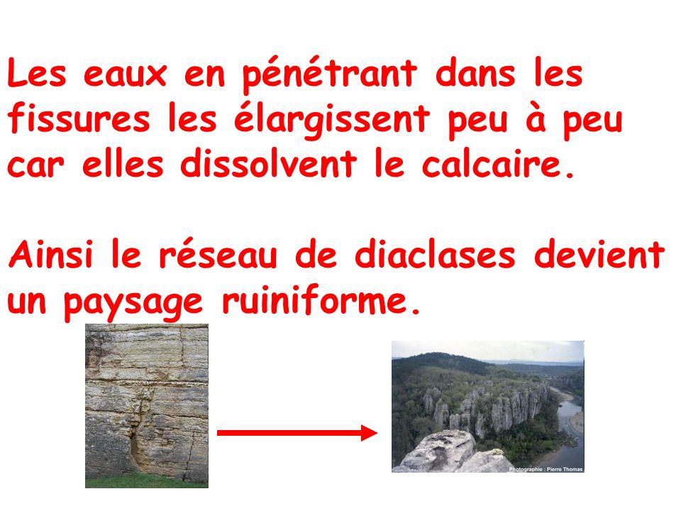 Les eaux en pénétrant dans les fissures les élargissent peu à peu car elles dissolvent le calcaire.