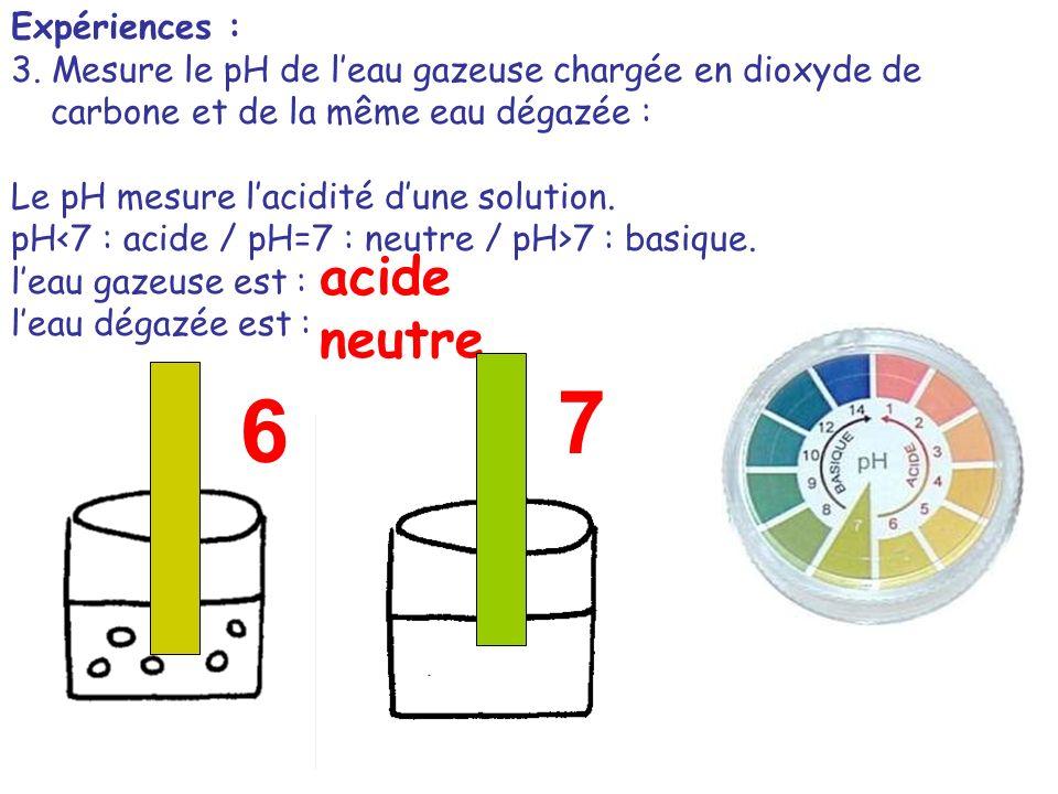 7 6 acide neutre Expériences :