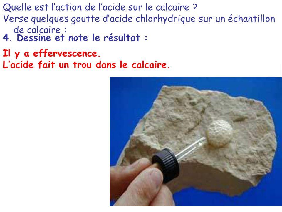 Quelle est l'action de l'acide sur le calcaire