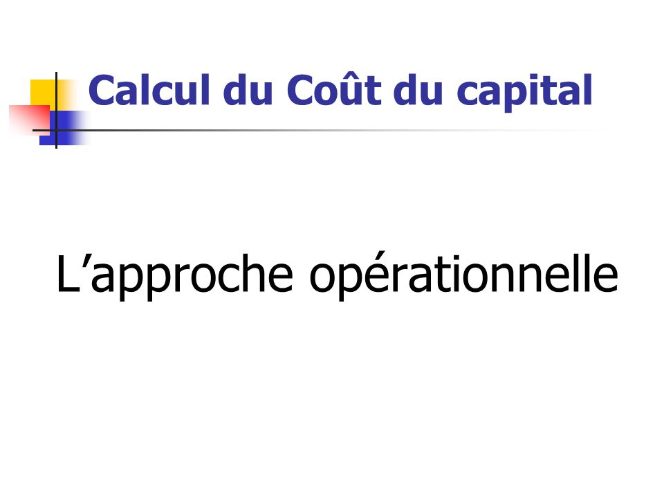 Calcul du Coût du capital
