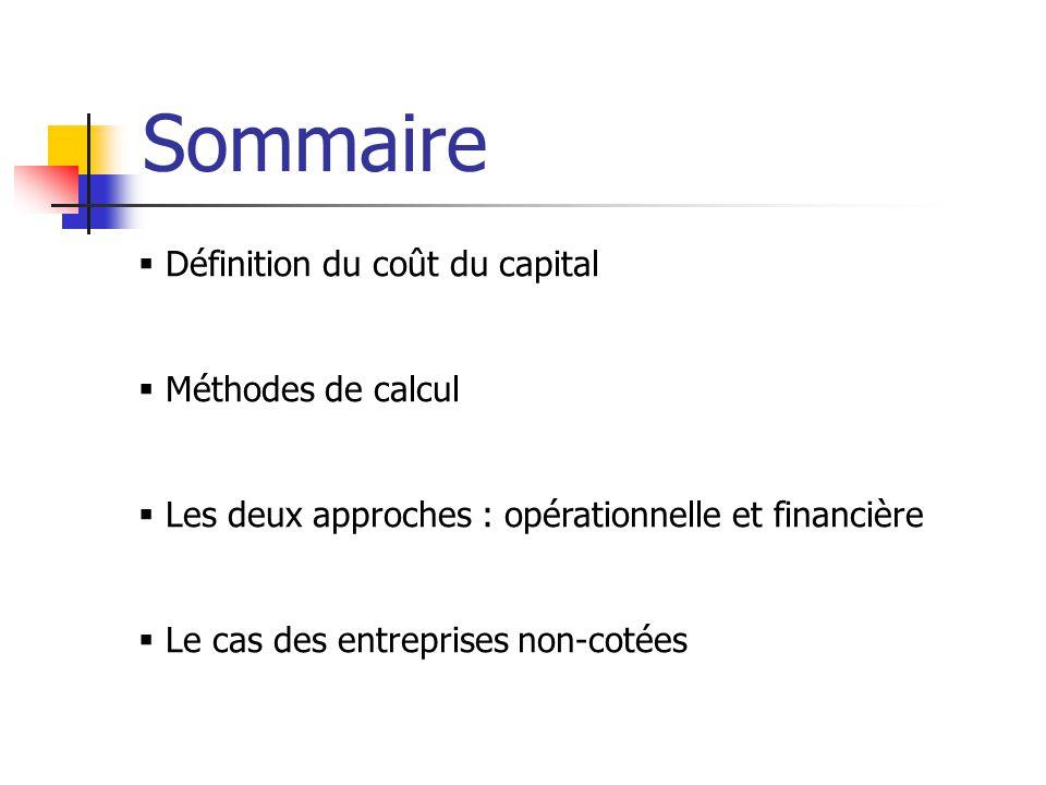 Sommaire Définition du coût du capital Méthodes de calcul