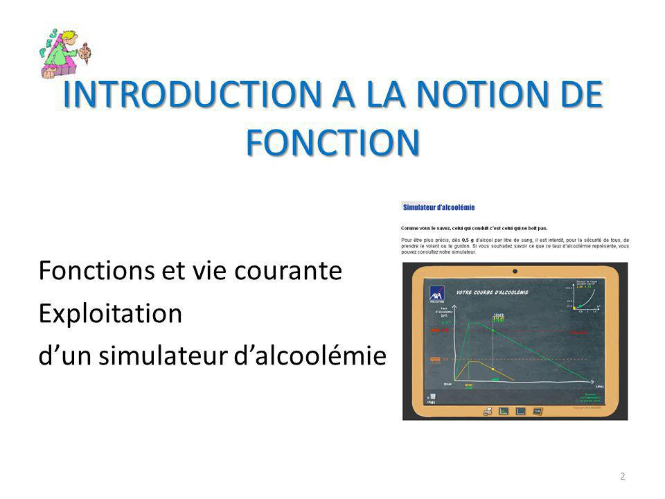 INTRODUCTION A LA NOTION DE FONCTION