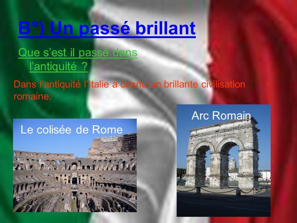 B°) Un passé brillant Que s'est il passé dans l'antiquité Arc Romain