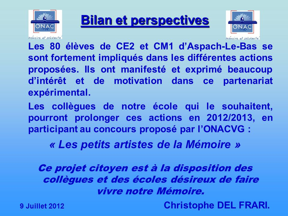 Bilan et perspectives « Les petits artistes de la Mémoire »