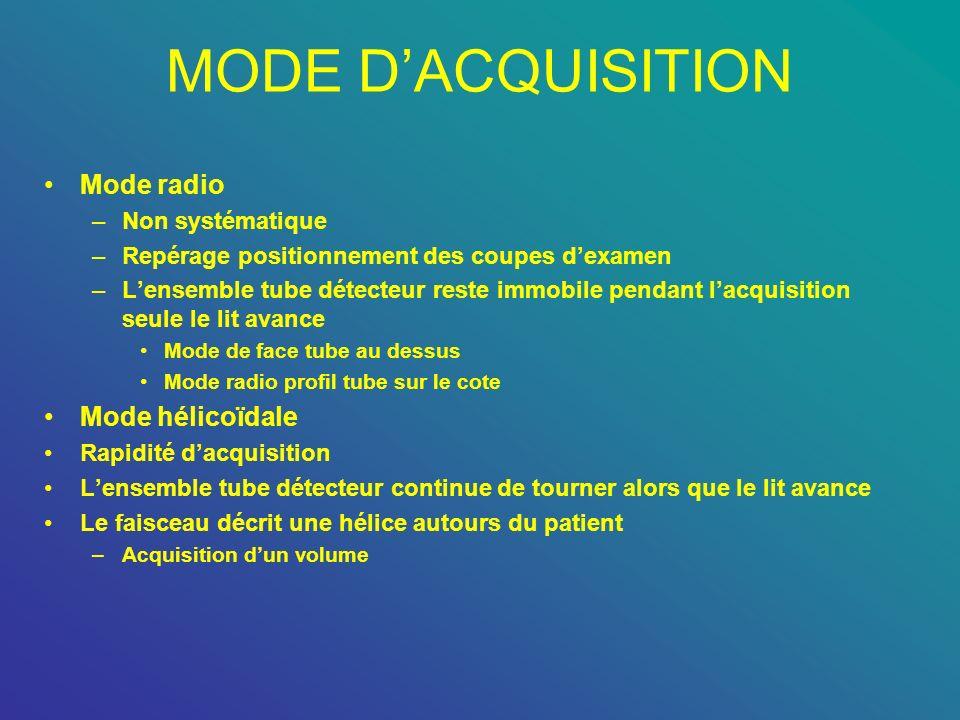 MODE D'ACQUISITION Mode radio Mode hélicoïdale Non systématique