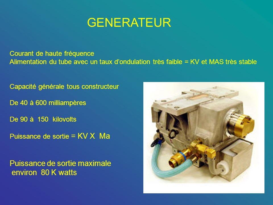 GENERATEUR Puissance de sortie maximale environ 80 K watts