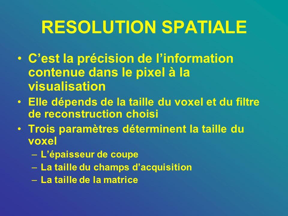 RESOLUTION SPATIALE C'est la précision de l'information contenue dans le pixel à la visualisation.