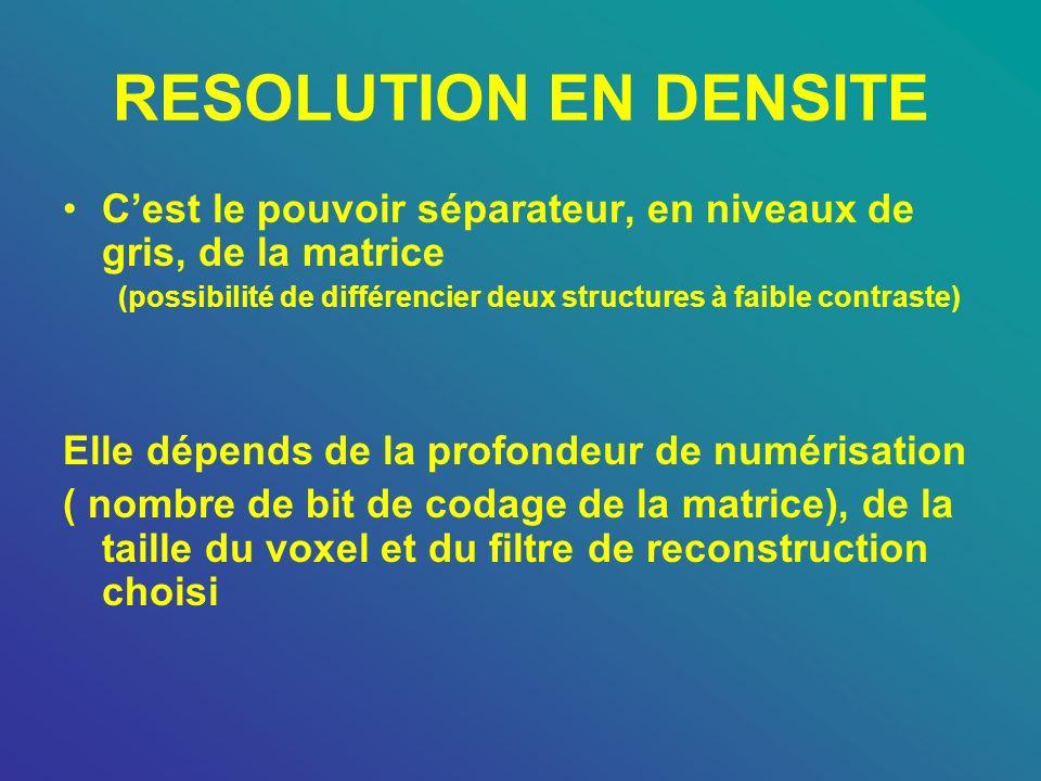RESOLUTION EN DENSITE C'est le pouvoir séparateur, en niveaux de gris, de la matrice.