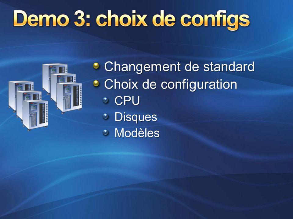 Demo 3: choix de configs Changement de standard Choix de configuration