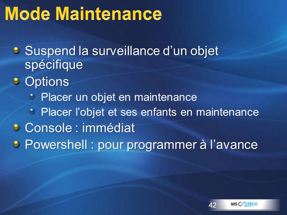 Mode Maintenance Suspend la surveillance d'un objet spécifique Options