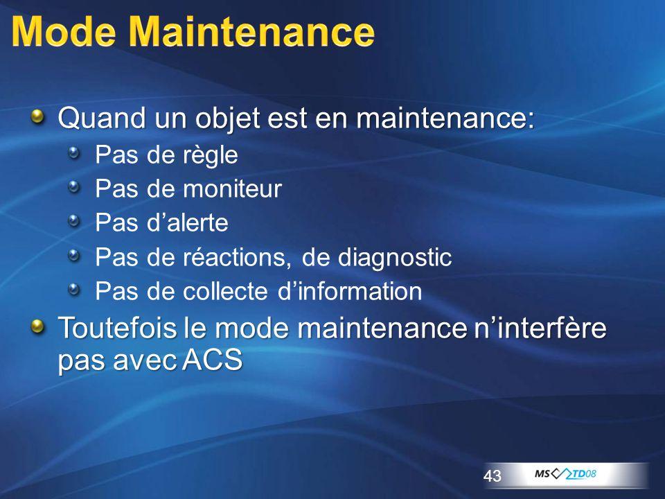 Mode Maintenance Quand un objet est en maintenance: