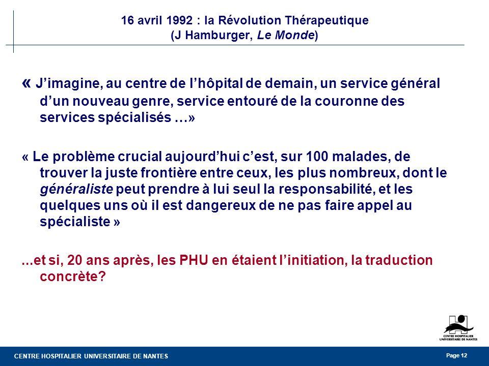 16 avril 1992 : la Révolution Thérapeutique (J Hamburger, Le Monde)