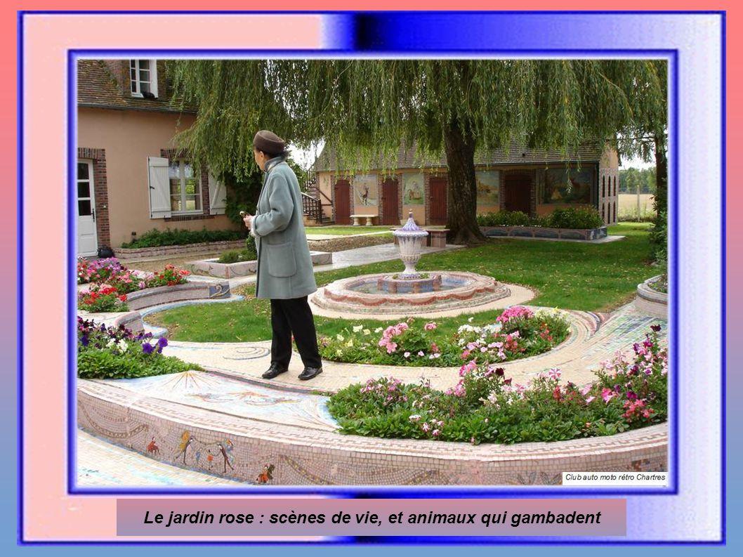 Le jardin rose : scènes de vie, et animaux qui gambadent
