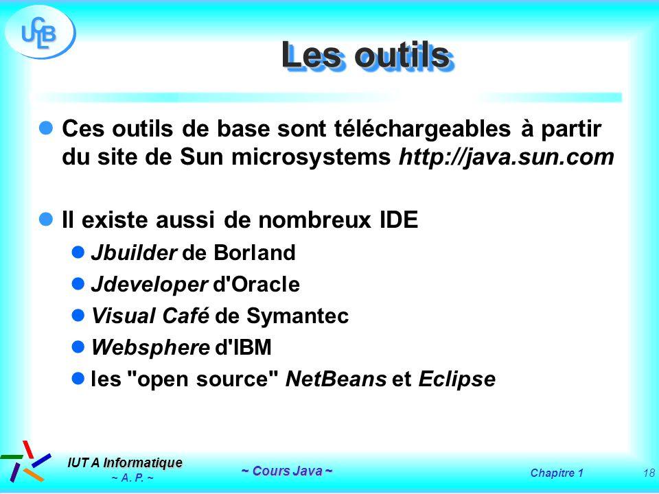 Les outils Ces outils de base sont téléchargeables à partir du site de Sun microsystems http://java.sun.com.