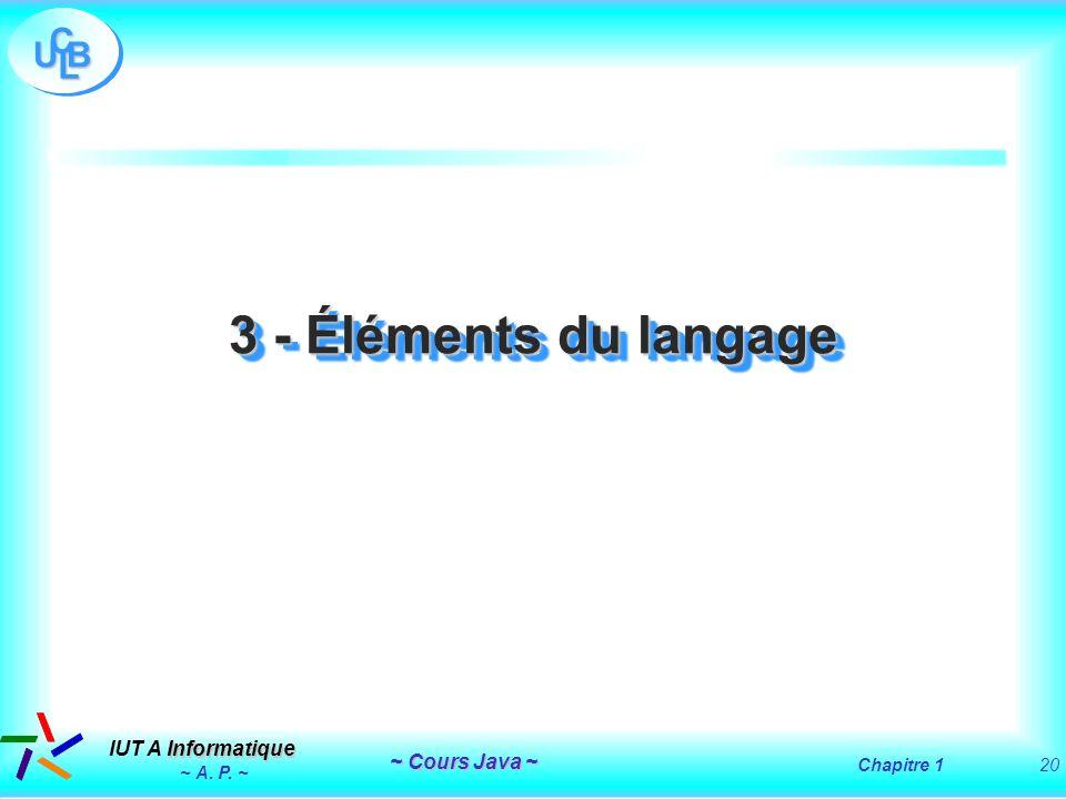 3 - Éléments du langage ~ A. P. ~