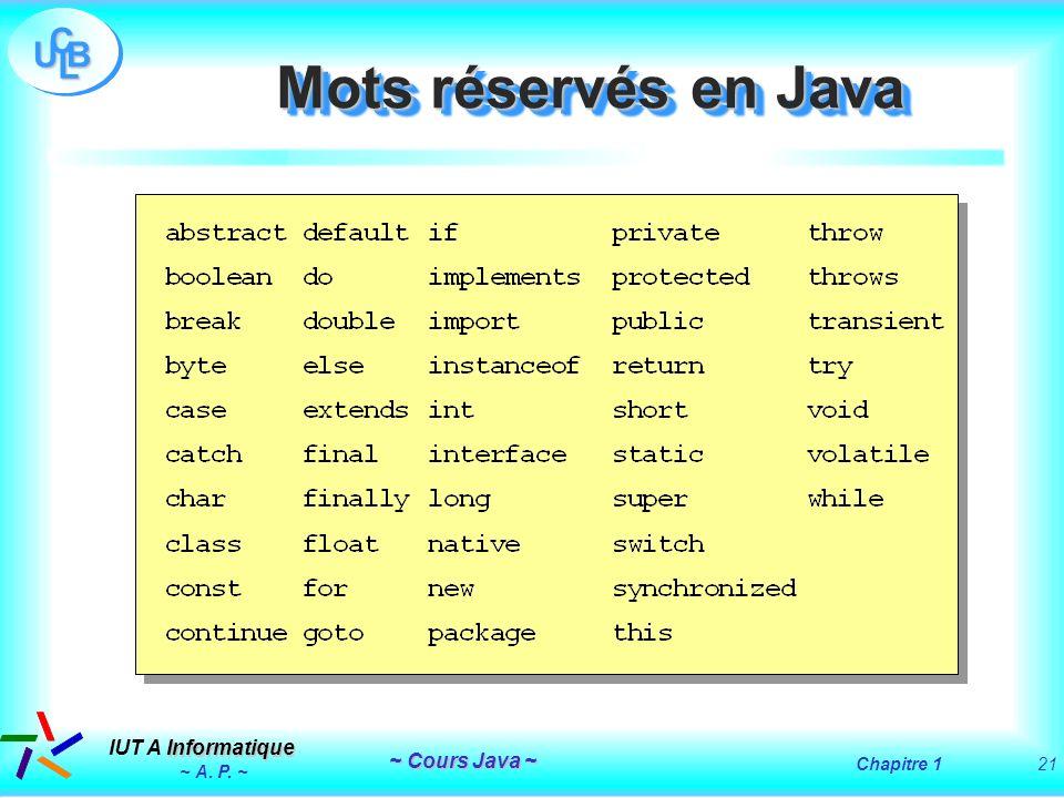 Mots réservés en Java ~ A. P. ~