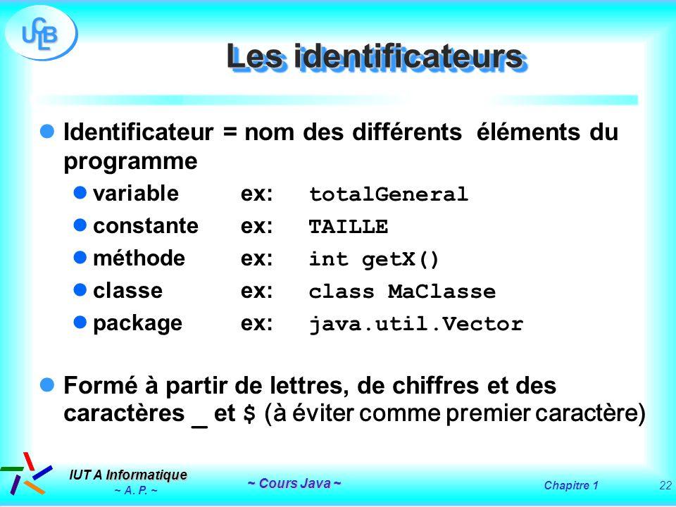 Les identificateurs Identificateur = nom des différents éléments du programme. variable ex: totalGeneral.