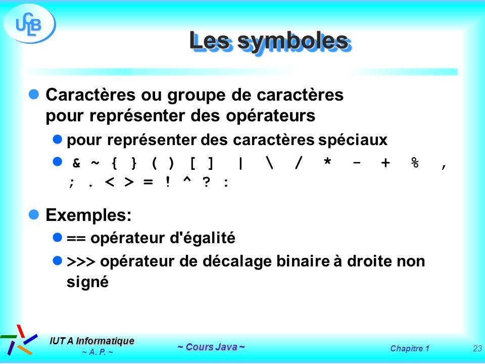 Les symboles Caractères ou groupe de caractères pour représenter des opérateurs. pour représenter des caractères spéciaux.