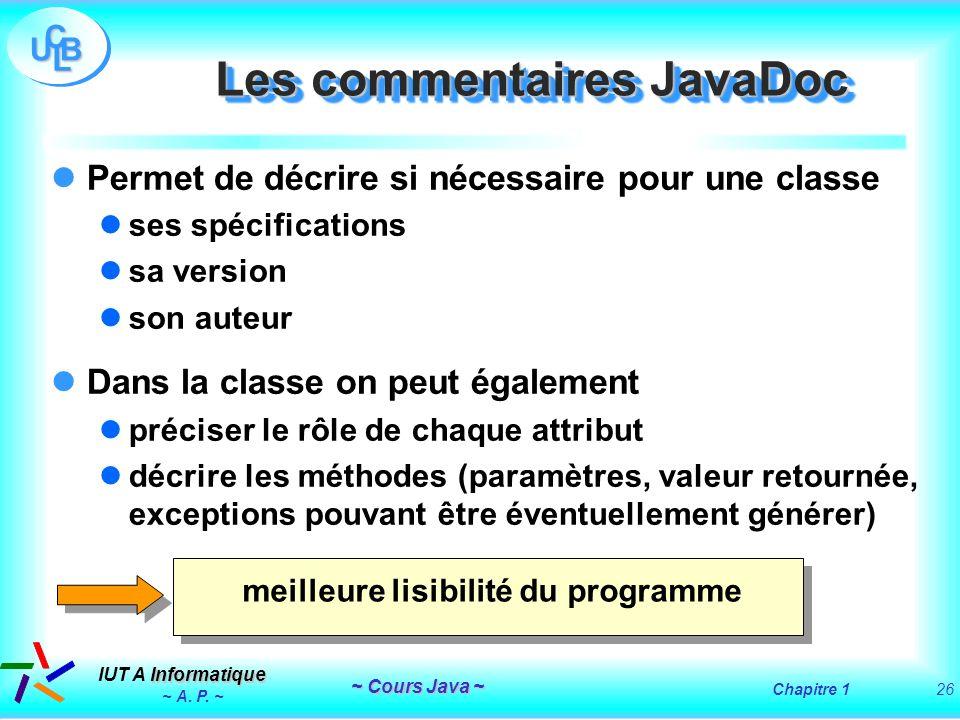 Les commentaires JavaDoc