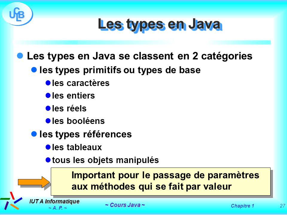 Les types en Java Les types en Java se classent en 2 catégories