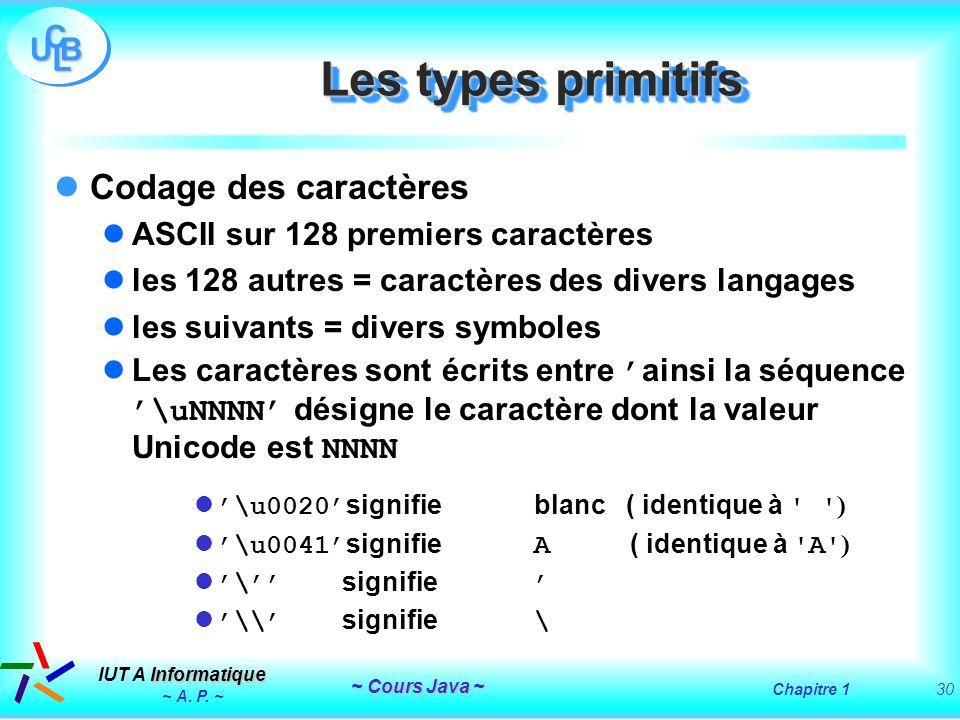 Les types primitifs Codage des caractères