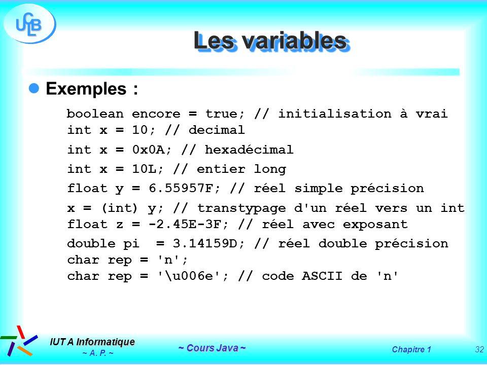 Les variables Exemples :