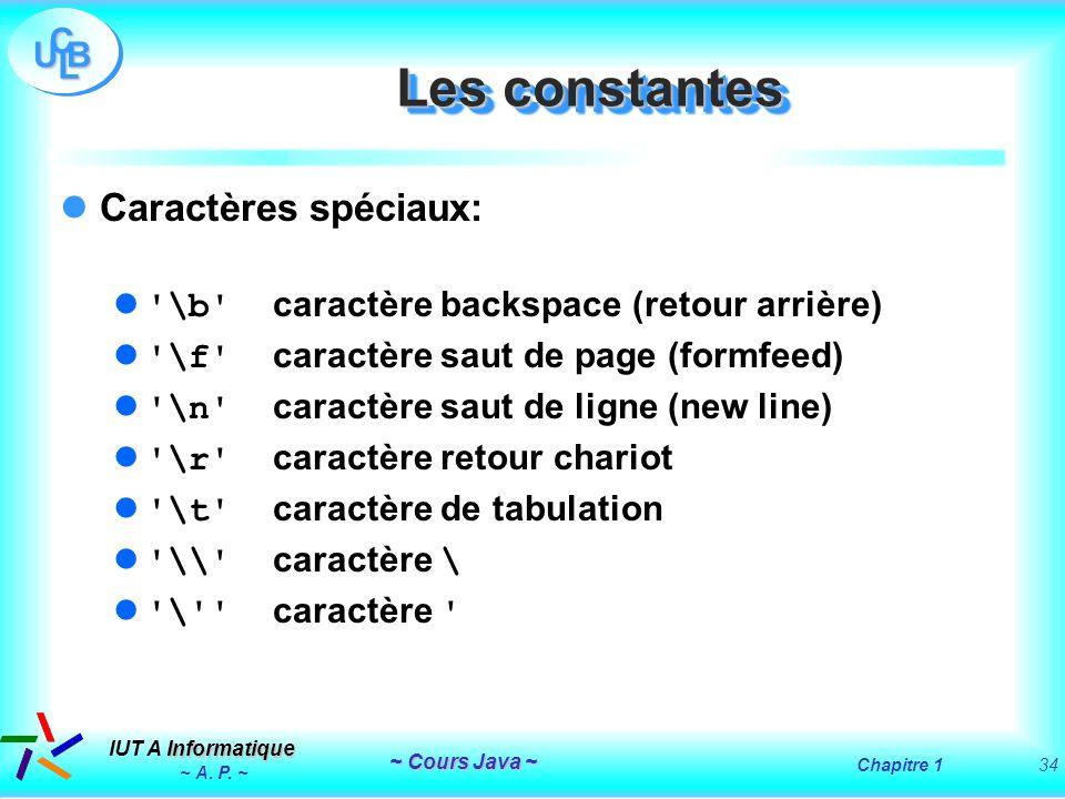 Les constantes Caractères spéciaux: