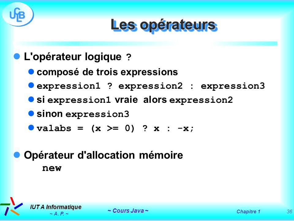 Les opérateurs L opérateur logique