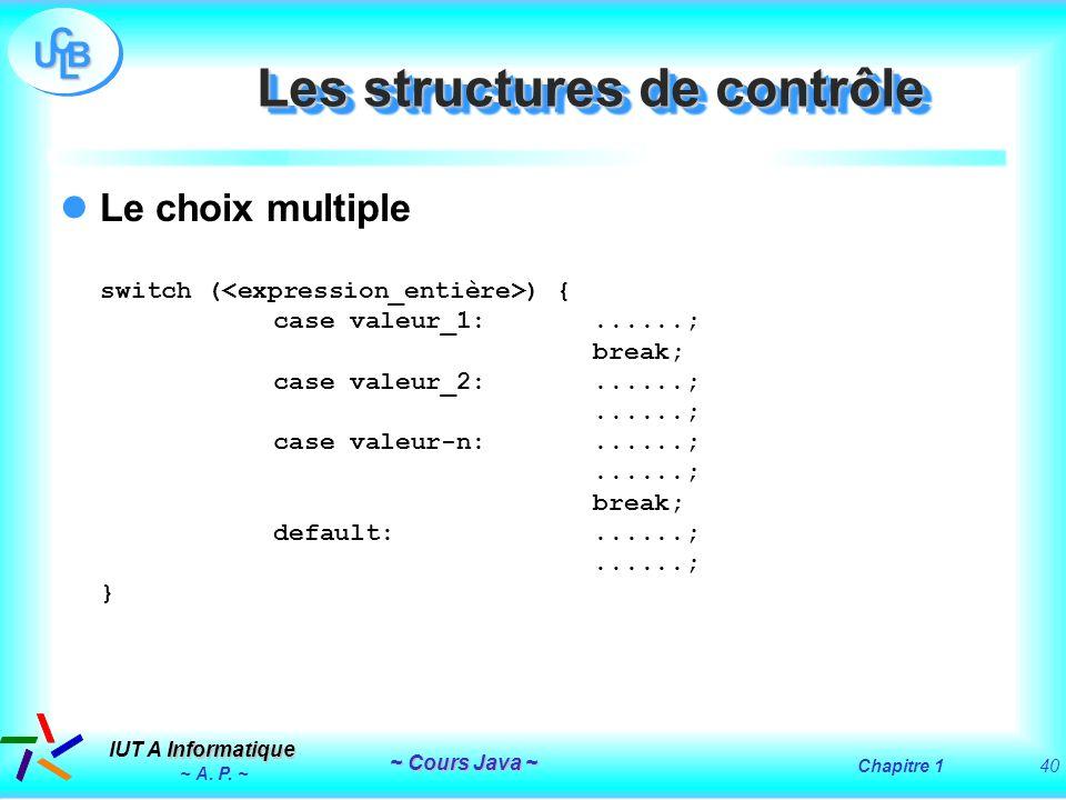 Les structures de contrôle